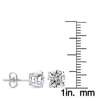 3ct Diamond Stud Earrings Set In 18 Karat White Gold, H/I, I1 Screwbacks