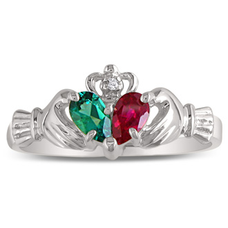 Emerald and Ruby Claddagh Ring in Sterling Silver