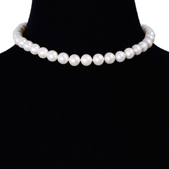 16 inch 10mm AAA Pearl Necklace with 14k Yellow Gold Clasp