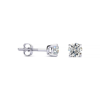 1/3ct Round Diamond Stud Earrings In Platinum, G/H, SI