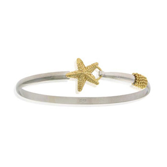 Two Tone Gold Overlay Starfish Bangle Bracelet, 7 Inches