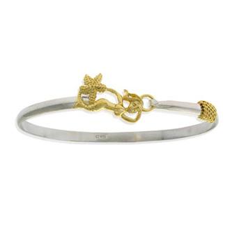 Two Tone Gold Overlay Mermaid Bangle Bracelet, 7 Inches