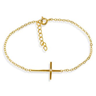 Sideways Cross Gold-Plated Single Cubic Zirconia Bracelet In Sterling Silver, 7 Inches