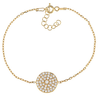 Round Gold-Plated Cubic Zirconia Disc Bracelet In Sterling Silver, 6 inches