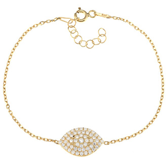 Evil Eye Gold-Plated Cubic Zirconia Marquise Bracelet In Sterling Silver, 6 Inches