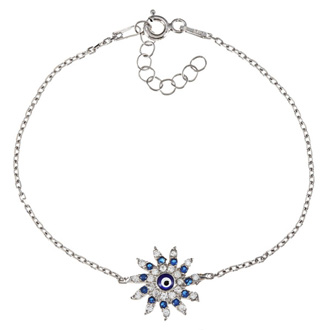 Sun-Shaped Evil Eye Cubic Zirconia Bracelet In Sterling Silver, 6 Inches