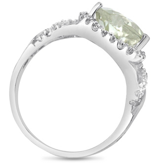 2ct Heart Shaped Green Amethyst and Diamond Ring in Sterling Silver, Size 5