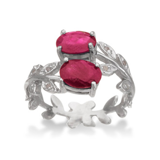 1 1/4ct Ruby and Diamond Leaf Ring in Sterling Silver, Size 8