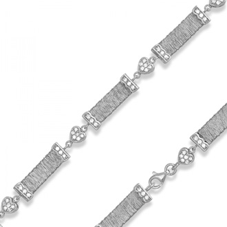 Threaded Bars Cubic Zirconia Heart Bracelet In Sterling Silver, 7.5 Inches