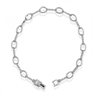 Open Circles And Thin Bars Cubic Zirconia Bracelet In Sterling Silver, 7.5 Inches