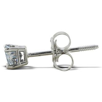 1/2ct Princess Diamond Stud Earrings In Platinum, I/J, SI2/SI3