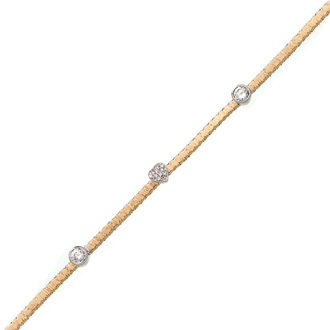 Heart And Circle Cubic Zirconia Gold-Overlay Bracelet In Sterling Silver, 7 Inches