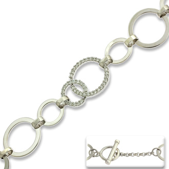 Circle Link Cubic Zirconia Toggle Bracelet In Sterling Silver, 7.5 Inc