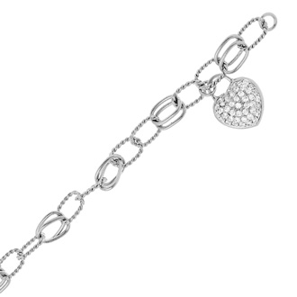 Heart Charm Bracelet With Cubic Zirconias In Sterling Silver, 8 Inches