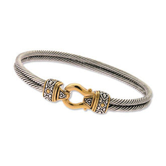 Vintage Inspired Two Tone Gold Overlay Double Rope Bangle Bracelet, 7 Inches