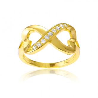 Sterling Silver Infinity Heart CZ Ring with Gold Overlay, Sizes 5-10