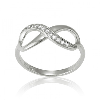 Sterling Silver Infinity Ring with White Topaz Accents, Sizes 5-10