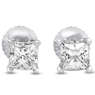 1 1/2ct Fine Quality Princess Diamond Stud Earrings In Platinum