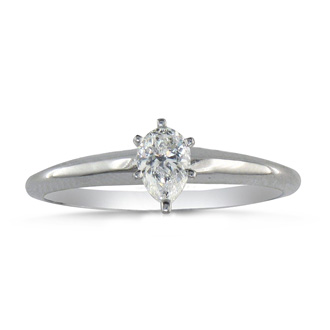 1/4ct Pear Shaped Diamond Solitaire Ring in 14k White Gold
