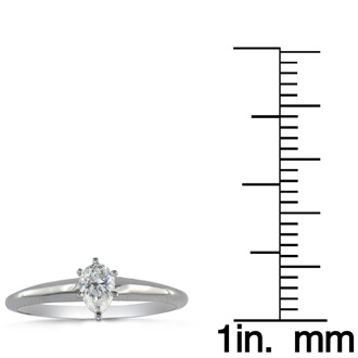 1/4 Carat Pear Shape Diamond Solitaire Ring In 14K White Gold