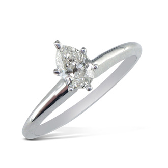 1/3 Carat Pear Shape Diamond Solitaire Ring In 14k White Gold