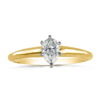 1/3 Carat Pear Shape Diamond Solitaire Ring In 14k Yellow Gold
