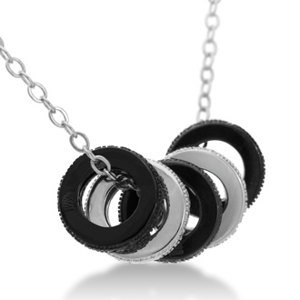Black And White Diamond Ring Necklace, 18 Inches
