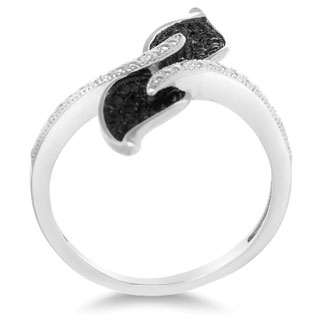 Black And White Diamond Leaf Cocktail Ring, Available In Ring Sizes 5-8