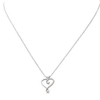 Sterling Silver Diamond Swirl Heart Necklace, 18 Inches