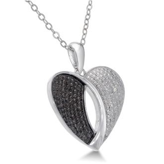 Modern Black and White Diamond Heart Pendant, 18 Inches