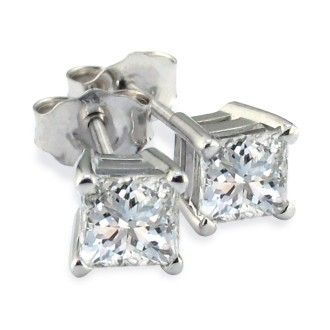 Platinum 1ct Princess Cut Diamond Stud Earrings, Fine SI Quality