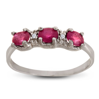 1ct Three Stone Ruby Ring With Diamonds In Sterling Silver, Available In Ring Sizes 4-9