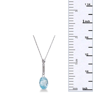 Shimmering 5.8ct Blue Topaz Necklace With Diamonds On Sterling Silver Chain, 18 Inches