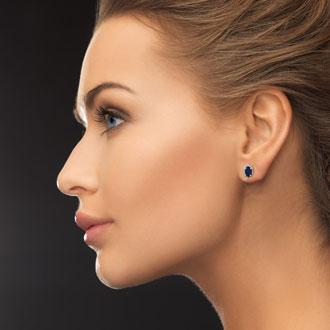 1ct Sapphire and Diamond Earrings