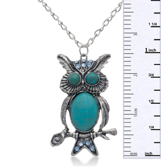 Trendy Owl Necklace with Turquoise and Blue Crystals, 24 Inches