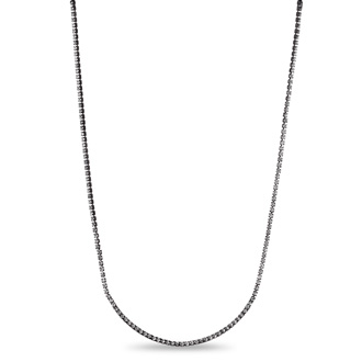 Gunmetal Crystal Adorned Bar Necklace, 18 Inches