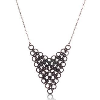 Trendy Gunmetal Bib Necklace, 18 Inches