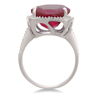 Trendy 7ct Ruby and Diamond Cushion Cut Ring in Sterling Silver