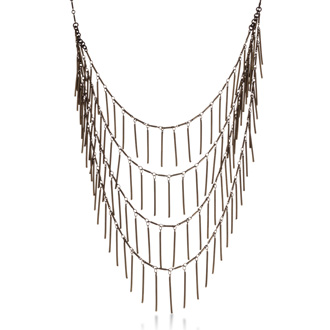 Antique Gold Finish Waterfall Necklace, 18 Inches