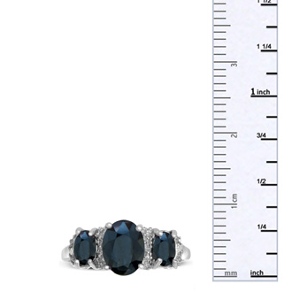 2ct Three Stone Sapphire and Diamond Ring In Sterling Silver, Size 7