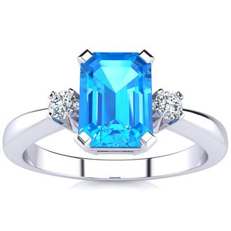 3ct Blue Topaz and Diamond Ring Crafted In Solid 14K White Gold