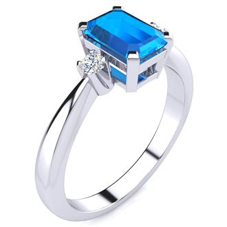 3ct Emerald Cut Blue Topaz and Diamond Ring Crafted In Solid 14K White Gold