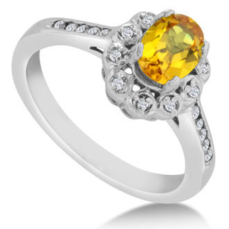 1 1/4ct Oval Citrine and Diamond Ring Crafted In Solid 14K White Gold