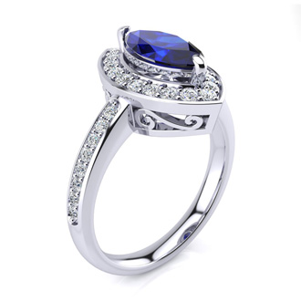 1 Carat Marquise Blue Sapphire and Diamond Ring In 14 Karat White Gold