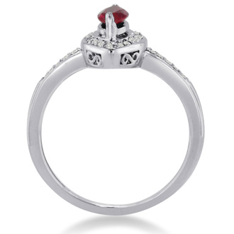 3/4ct Marquise Ruby and Diamond Ring Crafted In Solid 14K White Gold