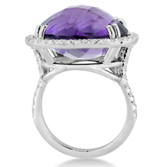 19ct Round Amethyst and Diamond Ring Crafted In Solid 14K White Gold