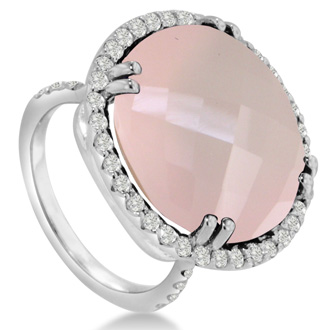 19ct Round Rose Quartz and Diamond Ring Crafted In Solid 14K White Gold