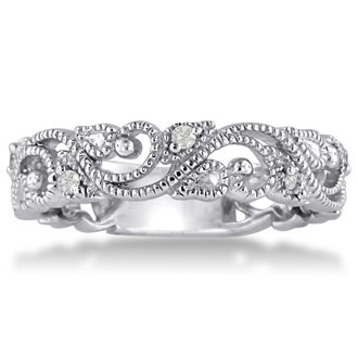 Floral Inspired Wedding Band With Diamonds Crafted In Solid 14K White Gold