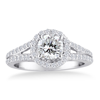 1 Carat Round Diamond Halo Engagement Ring In 14K White Gold