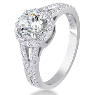 1ct Round Diamond Halo Engagement Ring Crafted In Solid 14K White Gold